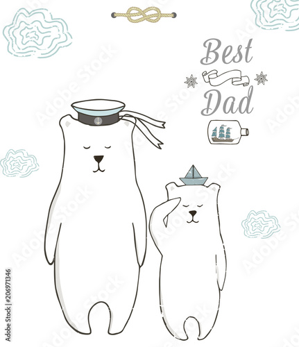 Best Dad Happy Fathers Day White Background Greeting Card Template Bear Polar