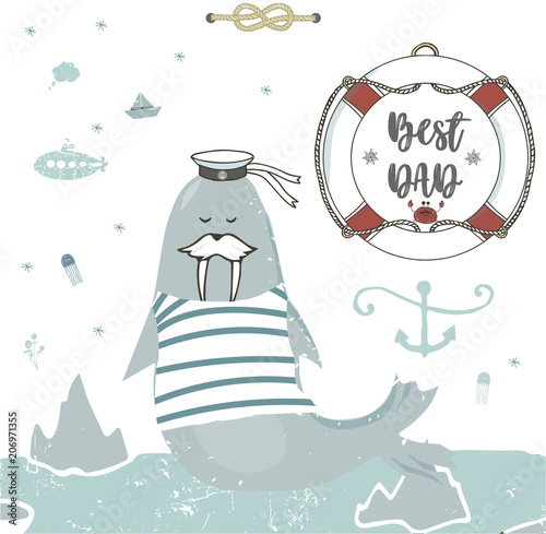 Best Dad Happy Fathers Day White Background Greeting Card Template Walrus Digital