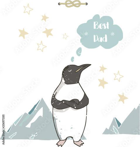 Best Dad Happy Fathers Day White Background Greeting Card Template Penguins Digital