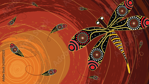 Photo Aboriginal art vector painting with dragonfly
