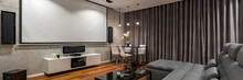 Narrow Sofa And Projector Screen