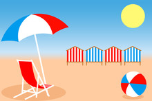 Umbrella, Chair, Bright Ball And Beach Huts On The Seacoast. Vector Illustration EPS10