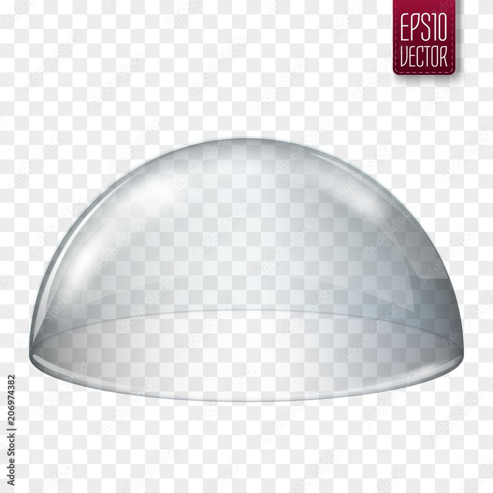 Fototapety, obrazy: Transparent glass semi-sphere isolated. Vector illustration