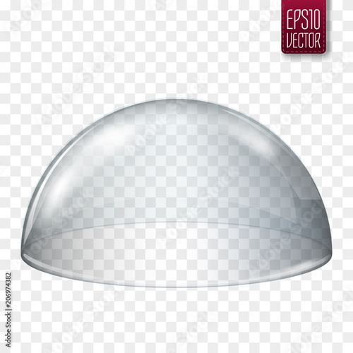Valokuvatapetti Transparent glass semi-sphere isolated. Vector illustration
