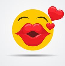 Kissing Emoji In A Flat Design