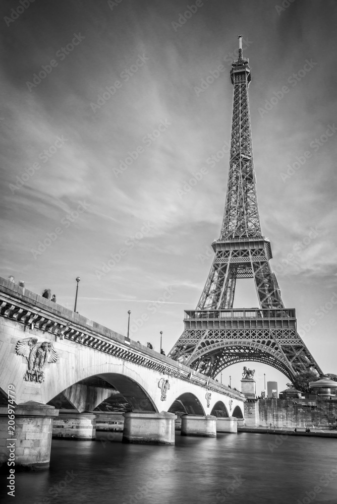 Fototapeta Iena bridge and Eiffel tower, black and white photogrpahy, Paris France