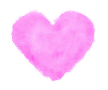 Pink Heart Watercolor On White Background