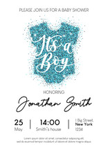 Boy Baby Shower Invitation Card With Blue Glittered Baby Clothing. It's A Boy Calligraphy Inscription. Minimalistic Elegance Design Template For Baby Boy Shower. Vector Illustration.