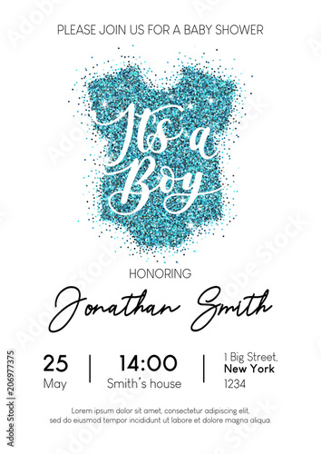 Fototapeta Boy Baby Shower Invitation Card With Blue Glittered Baby Clothing It S A Boy Calligraphy Inscription Minimalistic Elegance Design