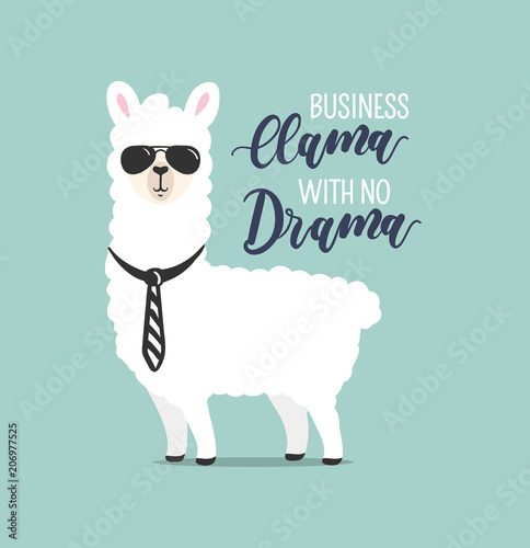 Photo .Business Llama with no drama cute card with handrawn alpaca. Greeting card for
