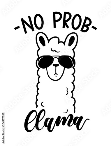 No probllama card isolated on white background Canvas Print