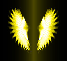 Yellow Glowing, Stylized Angel Wings On A Black Background. Vector