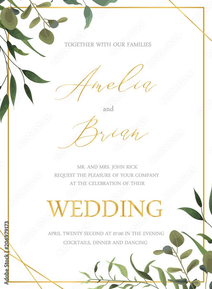 Obrazy Na Płótnie Wedding Floral Golden Invitation Card