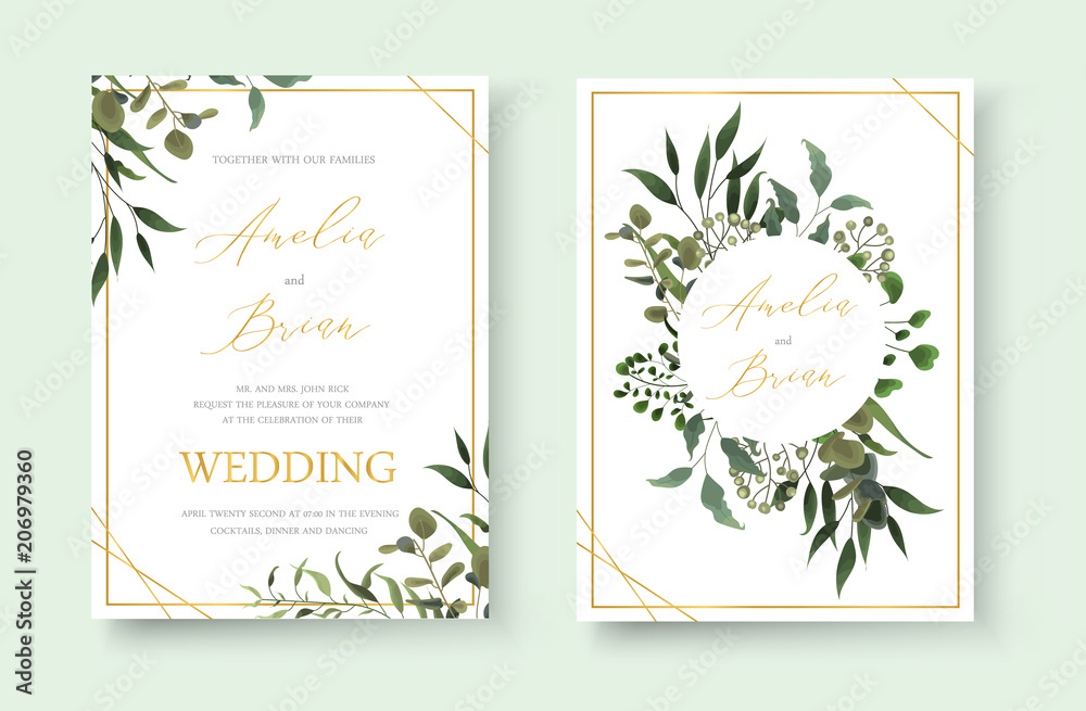 Fototapety, obrazy: Wedding floral golden invitation card save the date design with green tropical leaf