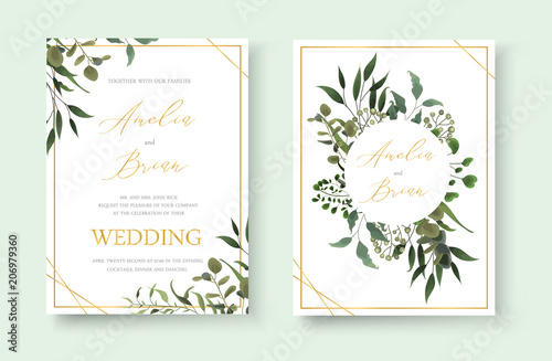 Fototapeta Wedding floral golden invitation card save the date design with green tropical leaf obraz