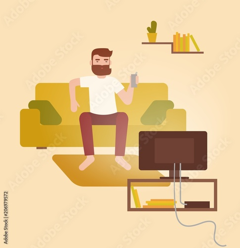 Male cartoon character sitting on cozy couch in front of ...
