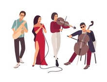 Jazz Or Blues Music Band Performing On Stage During Concert. Elegant Men And Women Singing Song And Playing Musical Instruments Isolated On White Background. Flat Cartoon Vector Illustration.