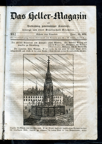 Schöner Brunnen in Nürnberg, Germany (from Das Heller-Magazin, June 14, 1834) фототапет