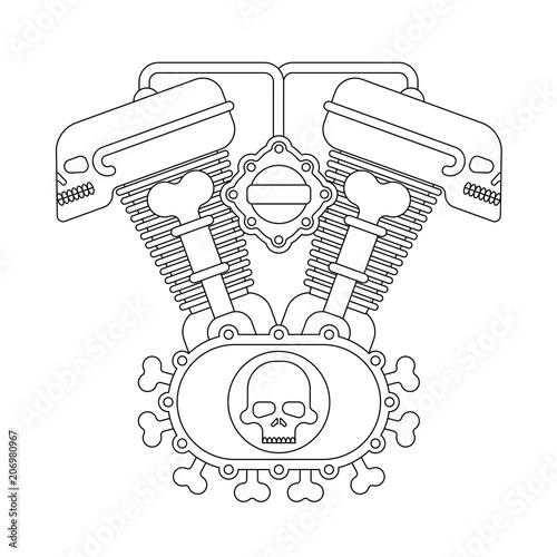 Engine Bike Skull Biker Club Sign Motor Motorcycle Isolated