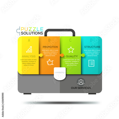 Infographic design template, jigsaw puzzle in shape of briefcase divided into 4 Canvas Print