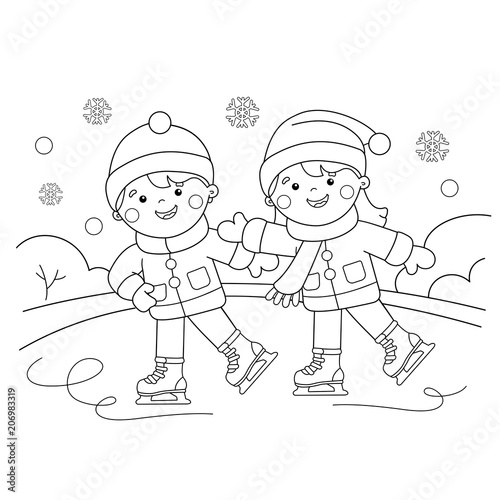 Coloring Page Outline Of Cartoon Boy With Girl Skating Winter