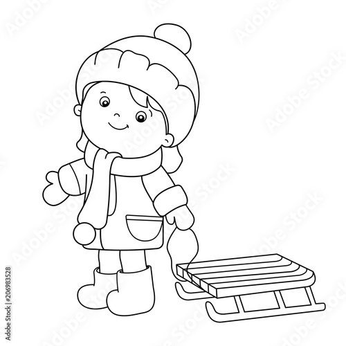- Coloring Page Outline Of Cartoon Girl With Sledge. Winter. Coloring Book  For Kids - Buy This Stock Vector And Explore Similar Vectors At Adobe Stock  Adobe Stock