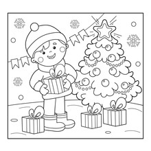 Coloring Page Outline Of Boy With Gifts At Christmas Tree. Christmas. New Year. Coloring Book For Kids