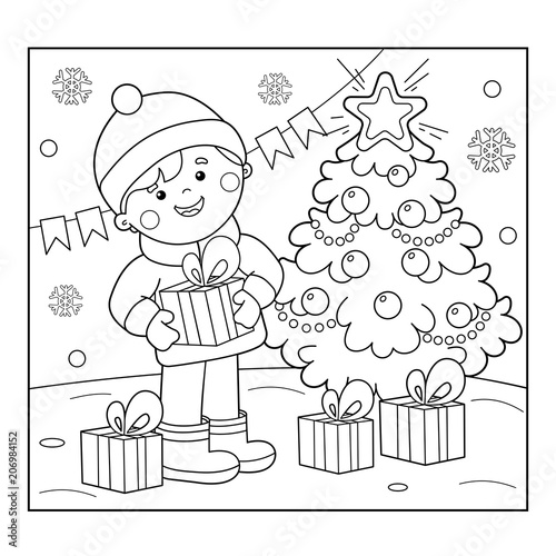 Coloring Page Outline Of boy with gifts at Christmas tree. Christmas ...