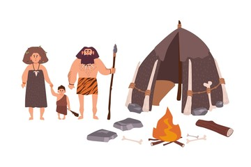 Family of ancient people, cavemen, primitive men or archaic human. Mother, father and son standing beside their dwelling and bonfire. Stone Age cartoon characters. Flat colorful vector illustration.