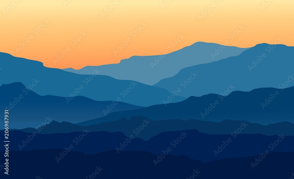 Fototapeta Vector landscape with blue silhouettes of mountains and hills with beautiful orange evening sky. Huge mountain range silhouettes in twilight. Vector hand drawn illustration.