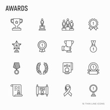 Awards Thin Line Icons Set: Trophy, Medal, Cup, Star, Statuette, Ribbon. Modern Vector Illustration Of Prizes For Competition.