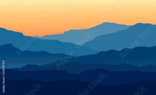 Fototapeta Vector landscape with blue silhouettes of mountains and hills with beautiful orange evening sky. Huge mountain range silhouettes in twilight. Vector hand drawn illustration. obraz