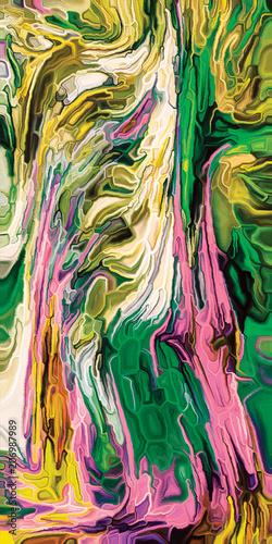 Foto op Aluminium Paradijsvogel bloem Mosaic Paint