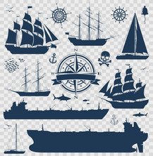 Set Of Fully Rigged Sailing Ships, Yachts And Oil Tankers Silhouettes Isolated On Transparent Background. Nautical Design Elements Collection. Vector Illustration