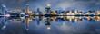 canvas print picture - Blick auf die beleuchtete Skyline des Bund in Shanghai, China, am Abend