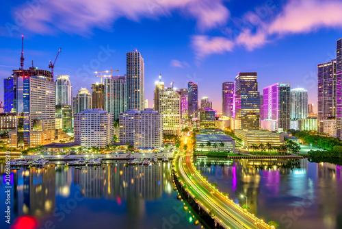 Valokuvatapetti Miami, Florida, USA Biscayne Bay Skyline