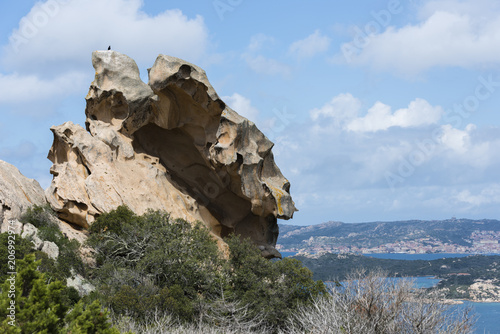 Photo sur Aluminium Ile Palau and la maddalena arcipelag aeral view from Capo Orso