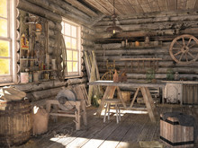 Interior Of An Old Log Barn. W...
