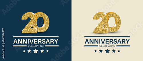 Fotografía  20th Anniversary celebrating cards template. Vector illustration.