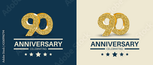 Valokuvatapetti 90th Anniversary celebrating cards template. Vector illustration.