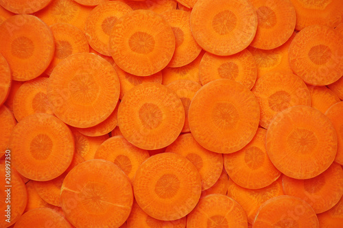 Foto background of carrot slices
