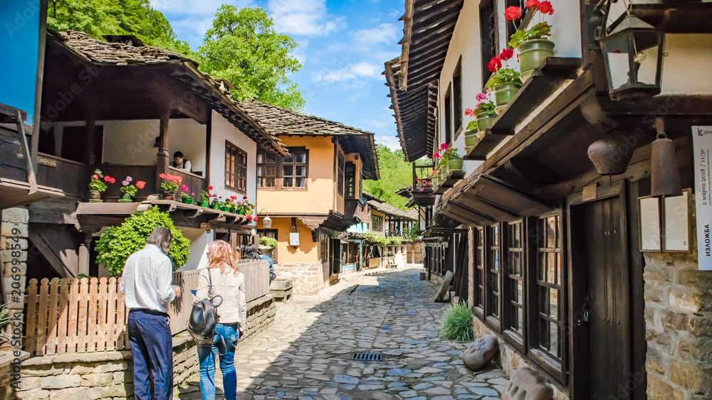 Fototapety, obrazy: Bulgaria shopping street in Etar village in Gabrovo province