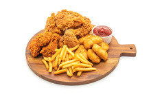 Fried Chicken With French Fries And Nuggets Meal (junk Food And Unhealthy Food)