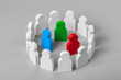 Concept leader of a business team. Crowd of white men stands in circle and listens to the leader of blue and red and green, work with objections, conflict