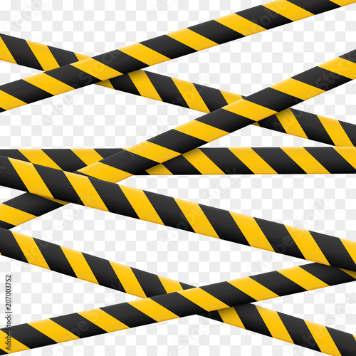 Fotografia  3d Caution lines isolated