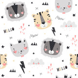 Seamless pattern with cute animals in Scandinavian style. Vector illustration - 207004521
