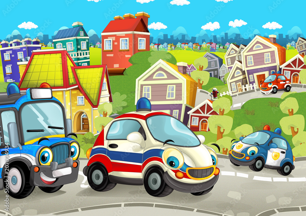 cartoon scene with happy cars on street going through the city - illustration for children