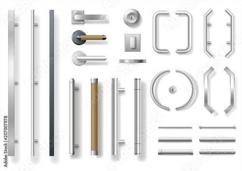 Set of modern door handles for doors or windows Fotobehang