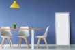 Leinwanddruck Bild - Chairs, table against blue wall