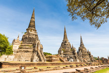 Ayutthaya, Thailand, Ruins Of Old Temples In The Historical Park